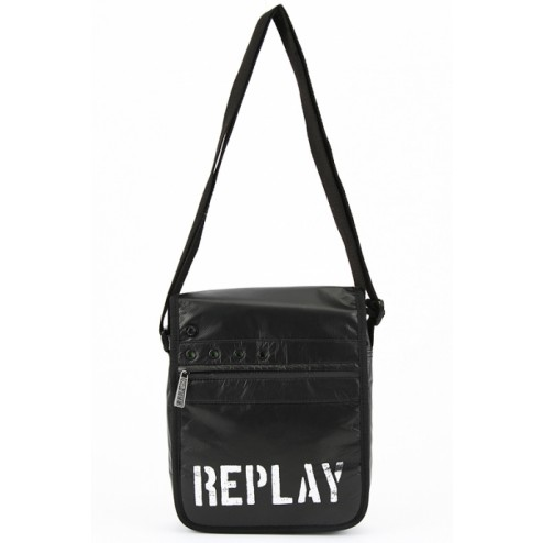 Replay FM3081 Black Crossbody Bag Silver Brand Logo