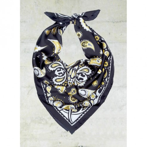Fred Perry Black Amy Winehouse Paisley Print Large Silk Scarf