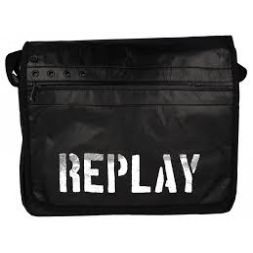 Replay FM3082 Black Crossbody Bag Silver Brand Logo