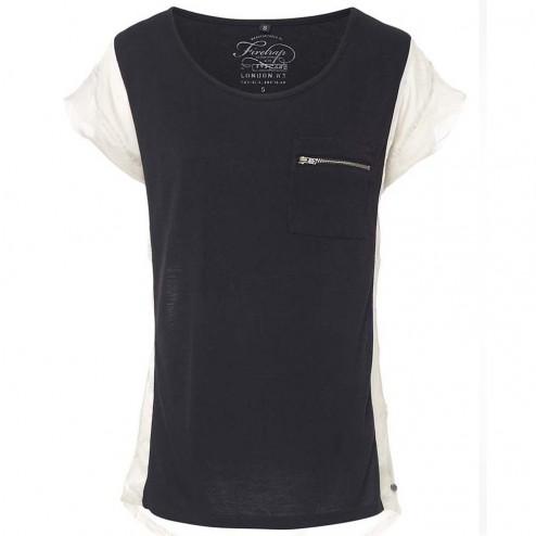 Firetrap Womens Maya Sand Black Colour Block T-Shirt