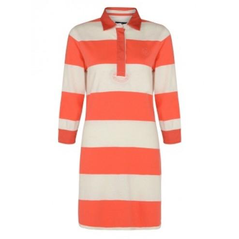 Henri Lloyd Women's White Nyla Rugby Cotton Stripe Collar Dress