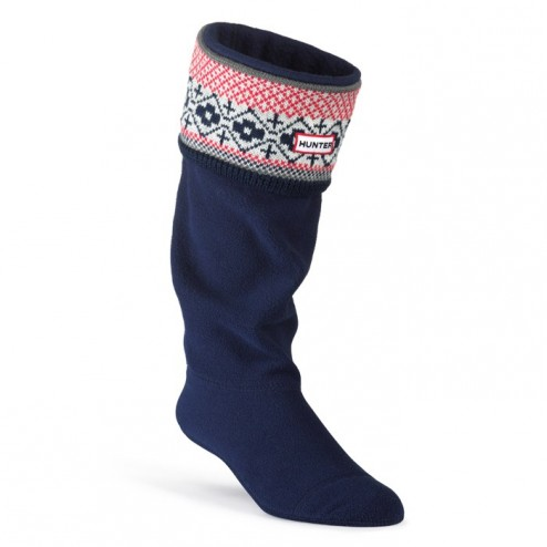 Hunter Fairisle Pattern Cuff Welly Socks - Multi Red/Navy