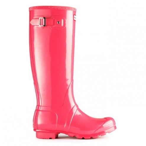 Hunter Original Tall Gloss Welly Boots - Crimson Pink