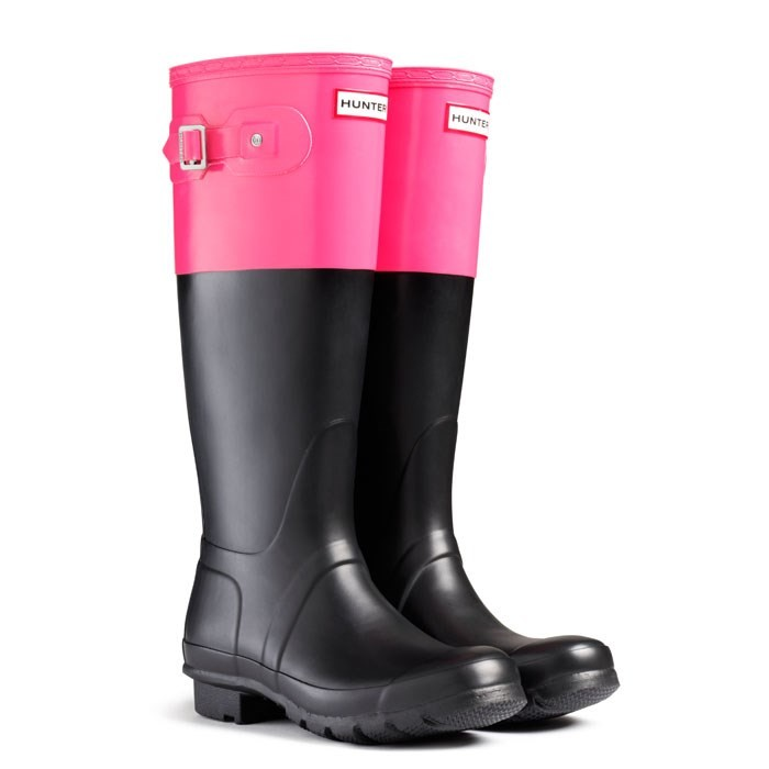 f56fcede4c7 Buy Hunter Original Colour Block Welly Boots - Black/Crimson Pink ...