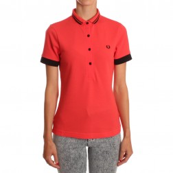 Fred Perry For The Amy Winehouse Candy Red SG3101 Contrast Cuff Polo Shirt