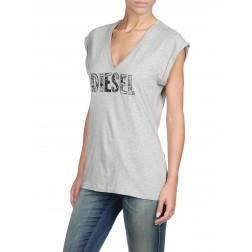 Diesel T-Portula V Neck Short Sleeve Top - Grey Melange