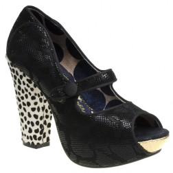 Irregular Choice Black Krazy Karen Block Heel Peep Toe Shoes