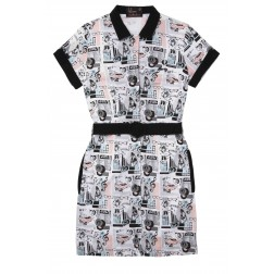 Fred Perry White Amy Winehouse Juke Box Print Shirt Dress