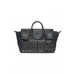 Replay Ladies Double-handle Eco Vintage Suede Studded Handbag