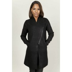 Diesel Women's 00CWNI M-delya Black Wax Coated Knitted Jacket