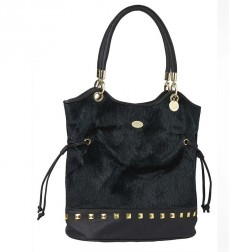 Firetrap Womens Bangs Black Hair Bucket Bag