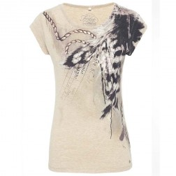 Firetrap Womens Clash Trim Sand Cap Sleeve T-Shirt