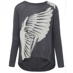 Firetrap Womens Harpina Grey Printed Flared Jumper