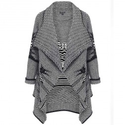 Firetrap Womens Black Cream Wool Mix Cardigan