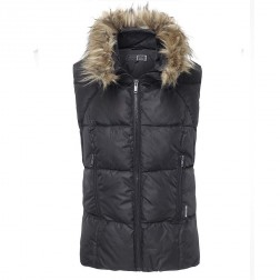 Firetrap Womens Turan Black Fur Hooded Gilet