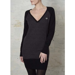 Fred Perry X Amy Winehouse Leopard V Neck Knitted Dress