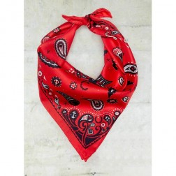 Fred Perry Fire Red Amy Winehouse Paisley Print Small Silk Scarf