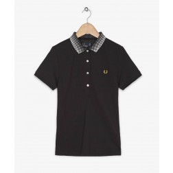 Fred Perry Ladies Optical Ombre Collar Black Polo Shirt