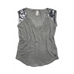 Replay Ladies Grey Cotton Sequin Sleeves Jersey T-shirt