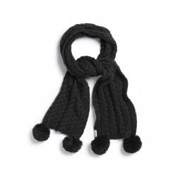 Hunter Women's Black Chunky Cable Pom Pom Scarf
