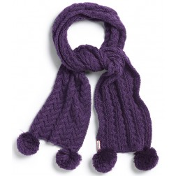 Hunter Women's Aubergine / Purple Chunky Cable  Pom Pom Scarf