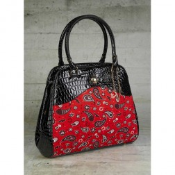Fred Perry Black Fire Red Amy Winehouse L2183 Paisley Printed Bag