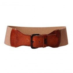 Replay AW2201 Tan Leather Sand Elastic Branded Waist Belt
