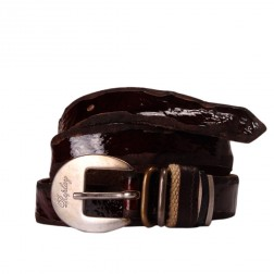 Replay Lackered Brown Genuine Leather Silver Branded Buckle Belt