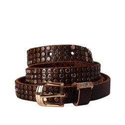 Replay AW2244 Gold Bronze Diamante Studs Brown Genuine Leather Belt