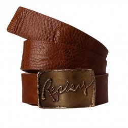 Replay AW2252 Tan Leather Logo Gold Colour Buckle Belt