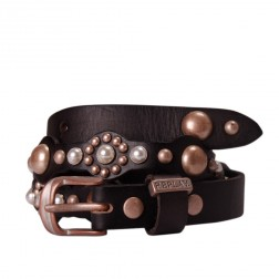 Replay AW2276 Black Genuine Leather Pearl Look Studs Branded Belt
