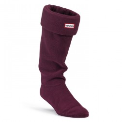 Hunter Fleece Welly Boot Socks - Dark Ruby