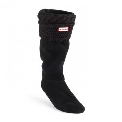 Hunter Moss Cable Cuff Welly Socks - Black