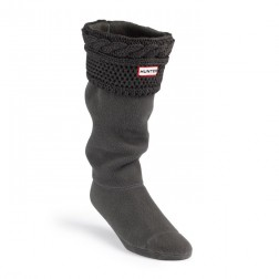 Hunter Moss Cable Cuff Welly Socks - Graphite