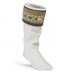 Hunter Fairisle Pattern Cuff Welly Socks - Grey/Chocolate