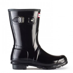 Hunter Original Short Gloss Welly Boots - Black