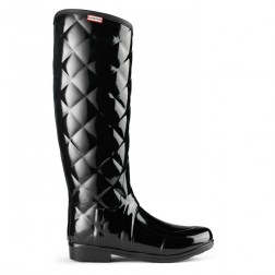 Hunter Sandhurst Savoy Quilted Welly Boots - Black