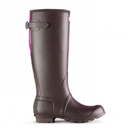 Hunter Original Back Adjustable Welly Boots - Chocolate/Violet