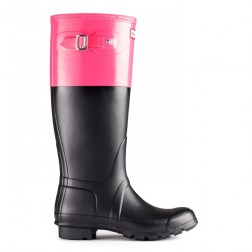 Hunter Original Colour Block Welly Boots - Black/Crimson Pink