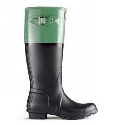 Hunter Original Colour Block Welly Boots - Black/Moss Green