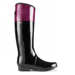Hunter Sandhurst Carlyle Welly Boots - Black/Dark Ruby