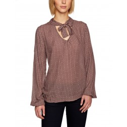 Replay W2654 Brown Pink Printed Tie-up Pussy Bow Long-sleeves Blouse
